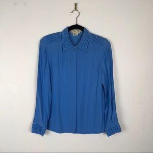 Vintage Blue Ice Blue Long Sleeve Blouse